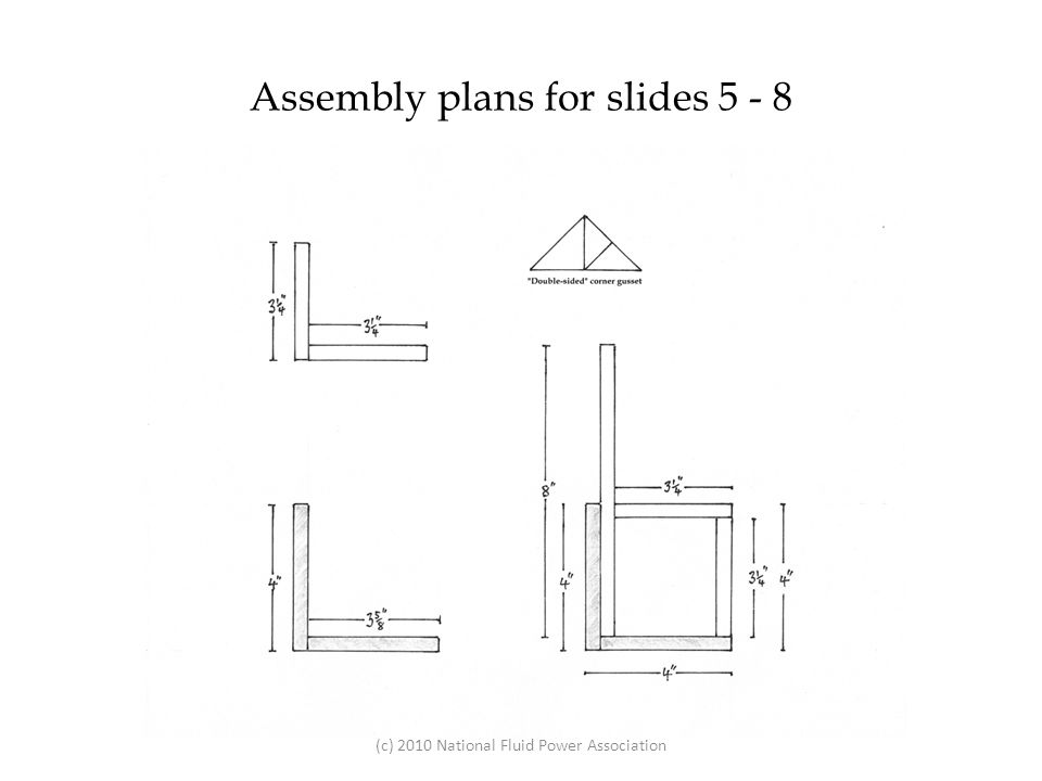 Glue a 3 ¼ piece to another 3 ¼ piece and then glue a 3⅝ piece to a 4 piece to form two L shapes.