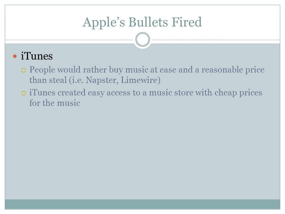 Apple's Bullets Fired iTunes  People would rather buy music at ease and a reasonable price than steal (i.e.