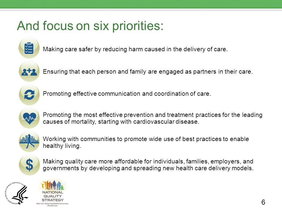 And focus on six priorities: Making care safer by reducing harm caused in the delivery of care.