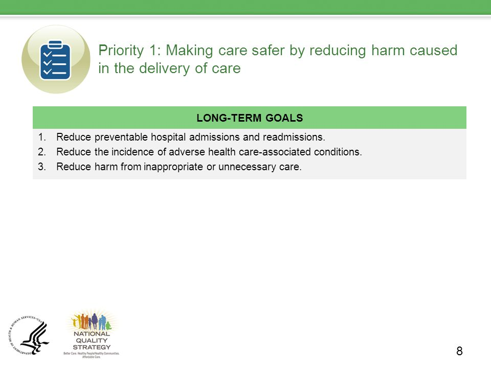 Priority 1: Making care safer by reducing harm caused in the delivery of care LONG-TERM GOALS 1.Reduce preventable hospital admissions and readmissions.