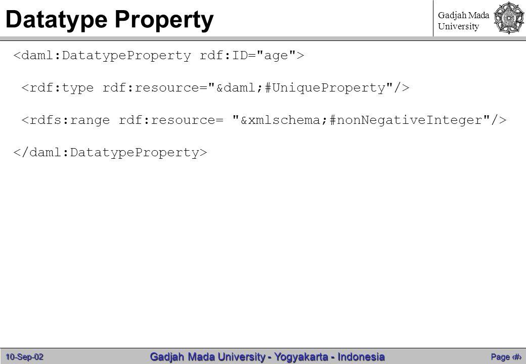 10-Sep-02 Page 18 Gadjah Mada University - Yogyakarta - Indonesia Gadjah Mada University Datatype Property