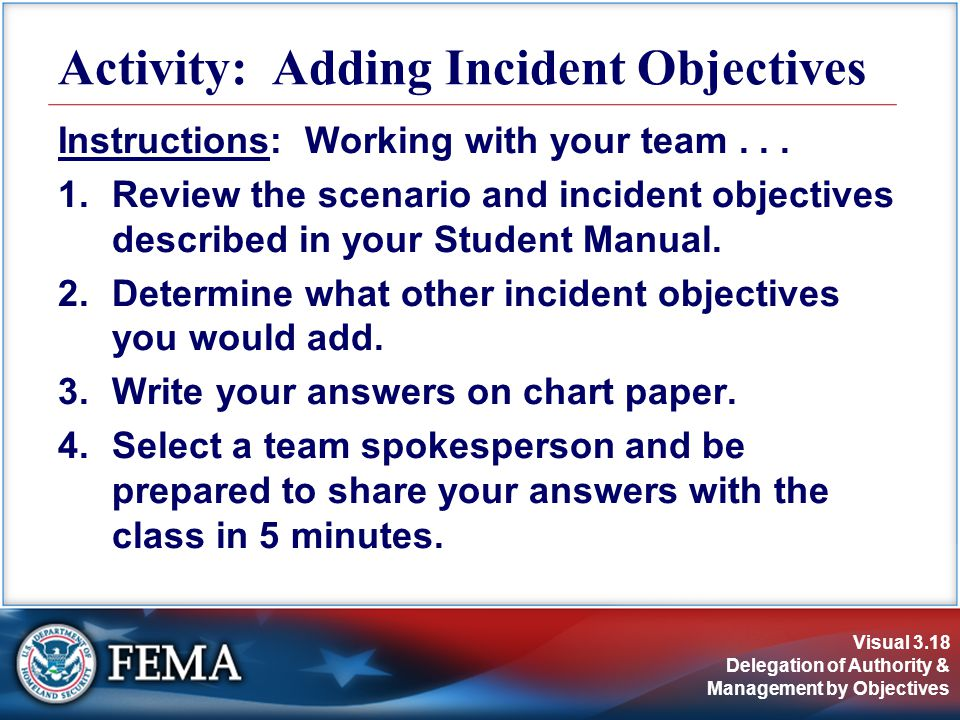 Visual 3.18 Delegation of Authority & Management by Objectives Instructions: Working with your team...