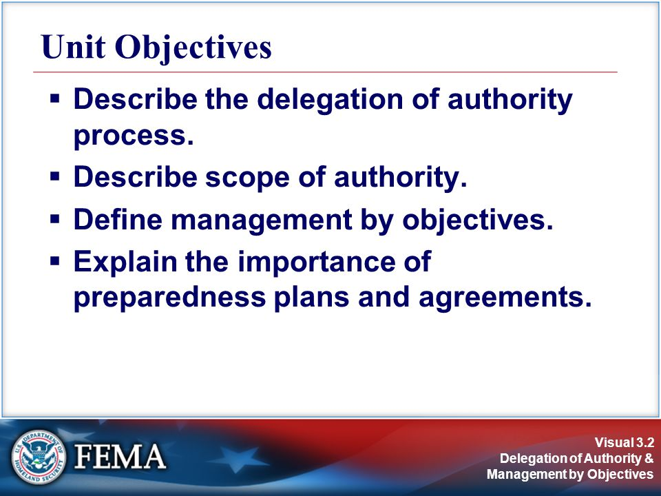 Visual 3.2 Delegation of Authority & Management by Objectives  Describe the delegation of authority process.