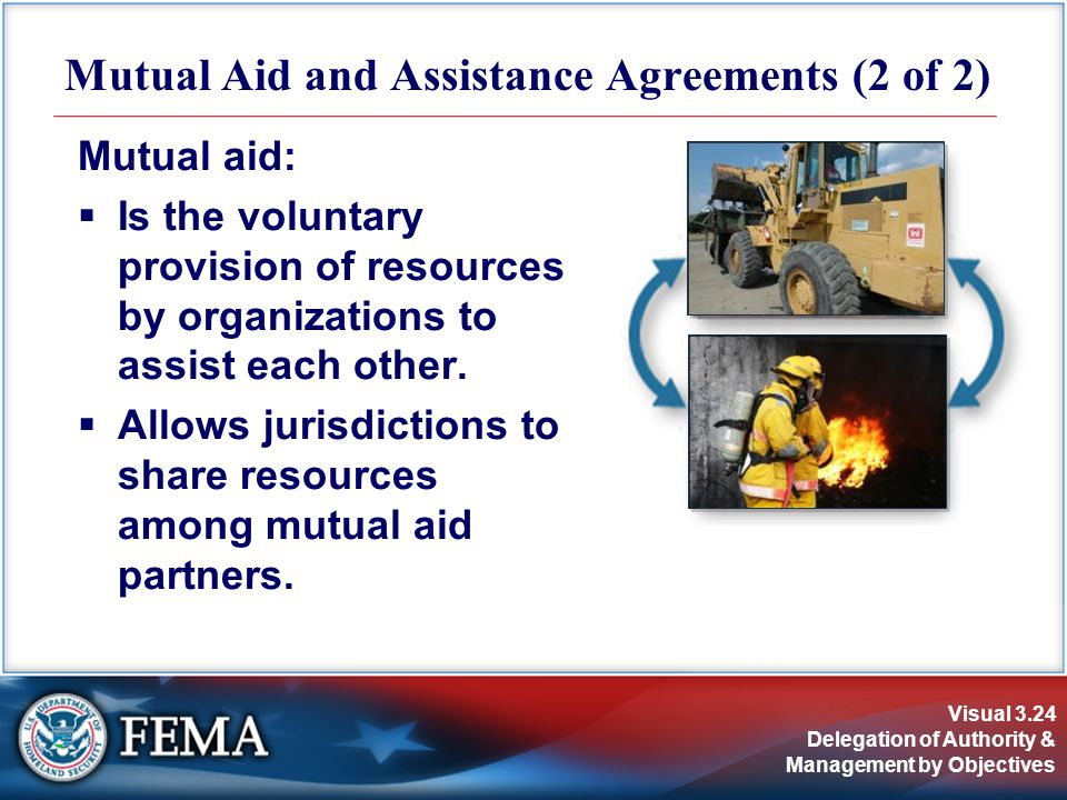 Visual 3.24 Delegation of Authority & Management by Objectives Mutual aid:  Is the voluntary provision of resources by organizations to assist each other.