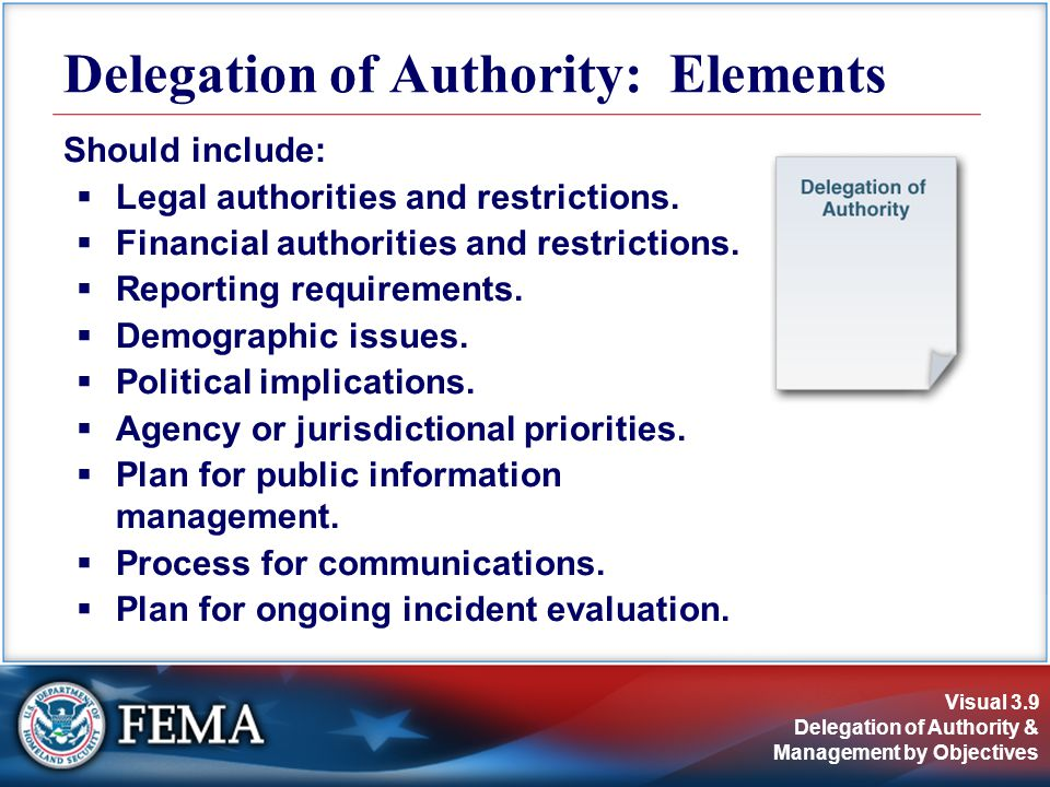 Visual 3.9 Delegation of Authority & Management by Objectives Should include:  Legal authorities and restrictions.