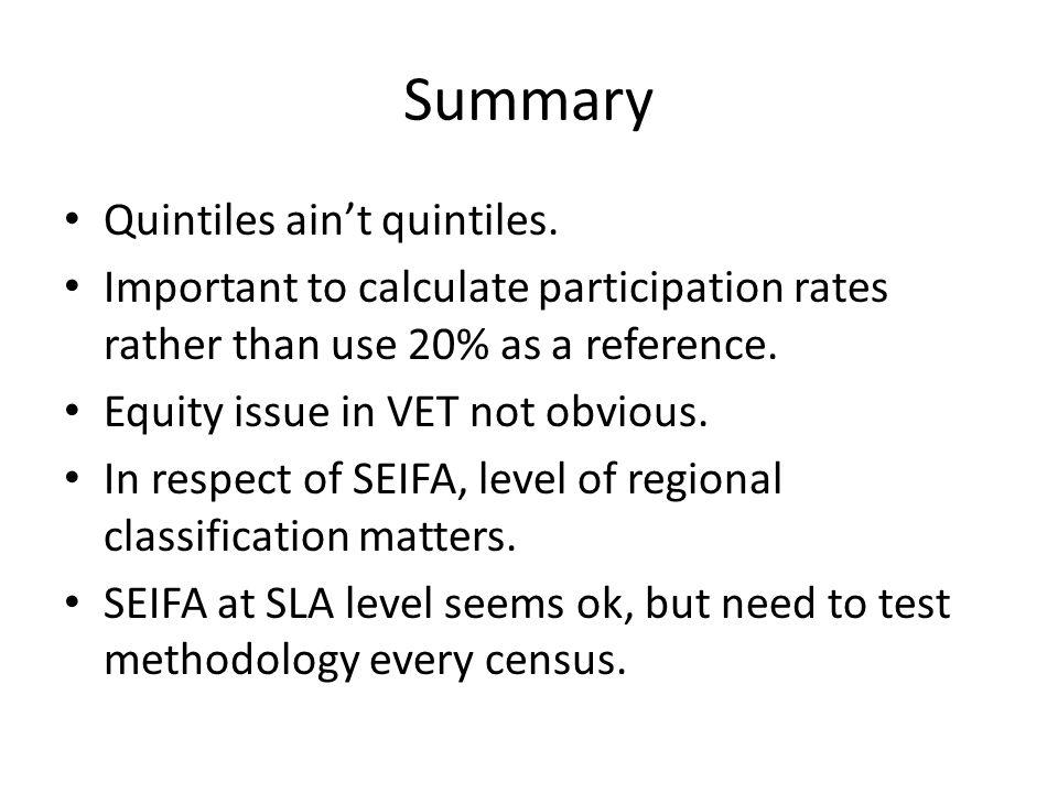 Summary Quintiles ain't quintiles.