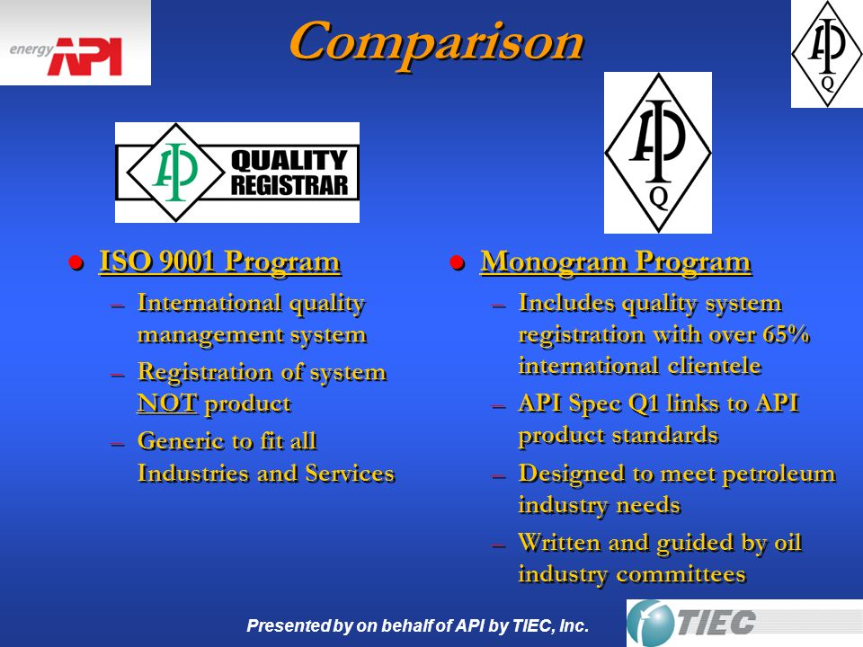Presented by on behalf of API by TIEC, Inc. Comparison l ISO 9001 Program –International quality management system –Registration of system NOT product
