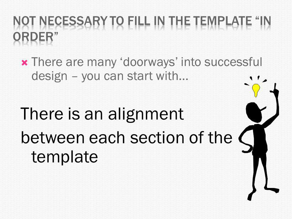  There are many 'doorways' into successful design – you can start with...
