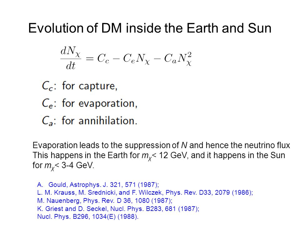 Evolution of DM inside the Earth and Sun Evaporation leads to the suppression of N and hence the neutrino flux This happens in the Earth for m χ < 12 GeV, and it happens in the Sun for m χ < 3-4 GeV.