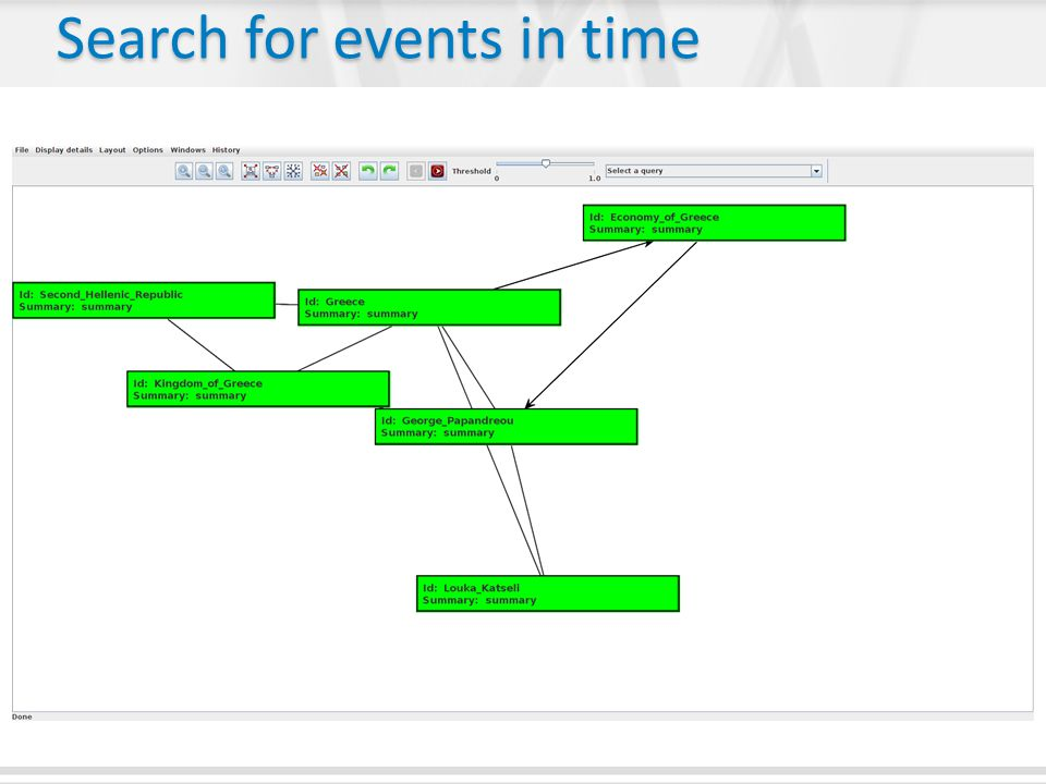 Search for events in time