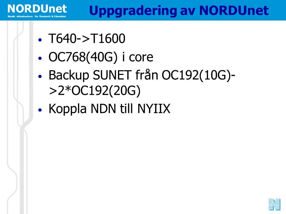 NORDUnet Nordic infrastructure for Research & Education Uppgradering av NORDUnet T640->T1600 OC768(40G) i core Backup SUNET från OC192(10G)- >2*OC192(20G) Koppla NDN till NYIIX