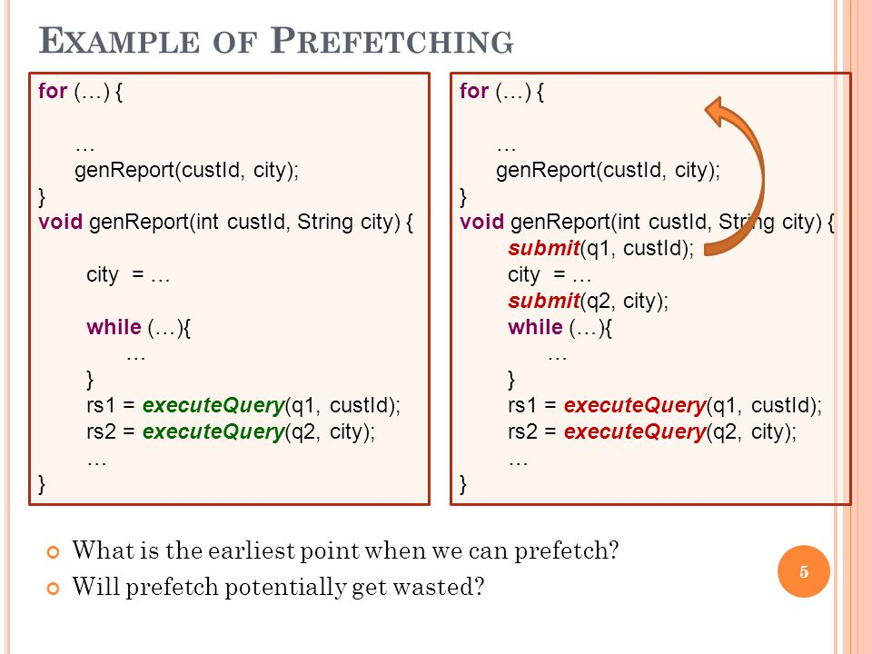 5 E XAMPLE OF P REFETCHING for (…) { … genReport(custId, city); } void genReport(int custId, String city) { city = … while (…){ … } rs1 = executeQuery(q1, custId); rs2 = executeQuery(q2, city); … } for (…) { … genReport(custId, city); } void genReport(int custId, String city) { submit(q1, custId); city = … submit(q2, city); while (…){ … } rs1 = executeQuery(q1, custId); rs2 = executeQuery(q2, city); … } What is the earliest point when we can prefetch.