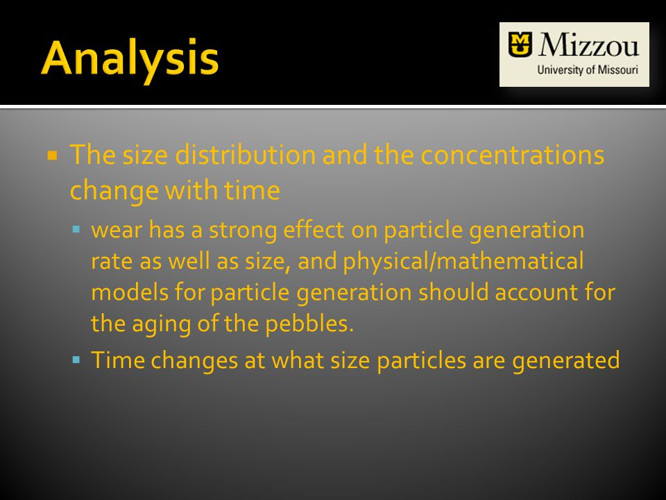  The size distribution and the concentrations change with time  wear has a strong effect on particle generation rate as well as size, and physical/mathematical models for particle generation should account for the aging of the pebbles.