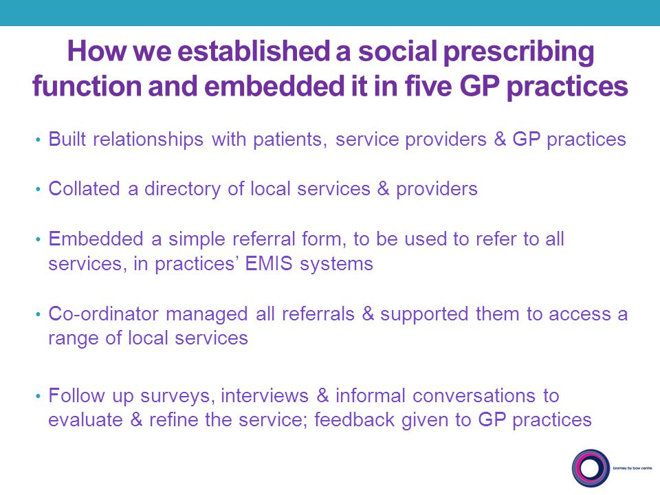 How we established a social prescribing function and embedded it in five GP practices Built relationships with patients, service providers & GP practi