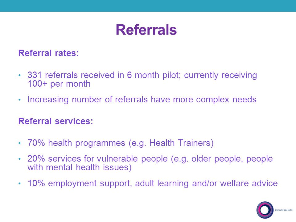 Referrals Referral rates: 331 referrals received in 6 month pilot; currently receiving 100+ per month Increasing number of referrals have more complex