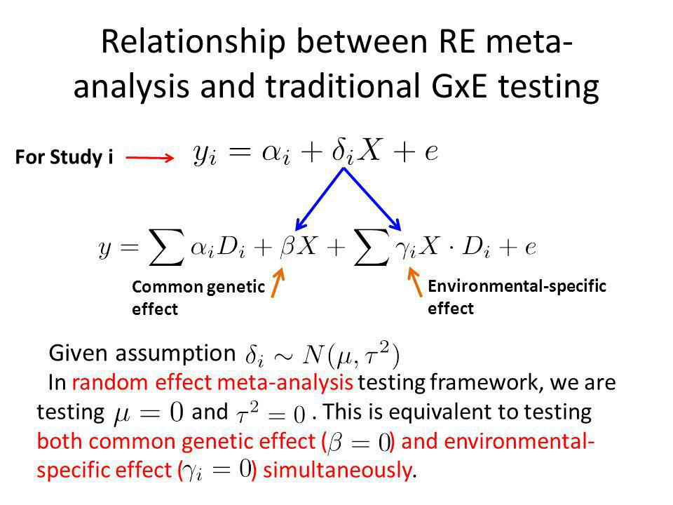 Relationship between RE meta- analysis and traditional GxE testing In random effect meta-analysis testing framework, we are testing and.