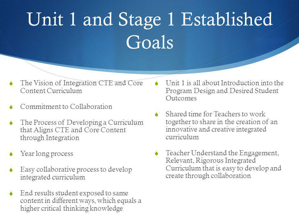 Unit 1 and Stage 1 Established Goals  The Vision of Integration CTE and Core Content Curriculum  Commitment to Collaboration  The Process of Develo