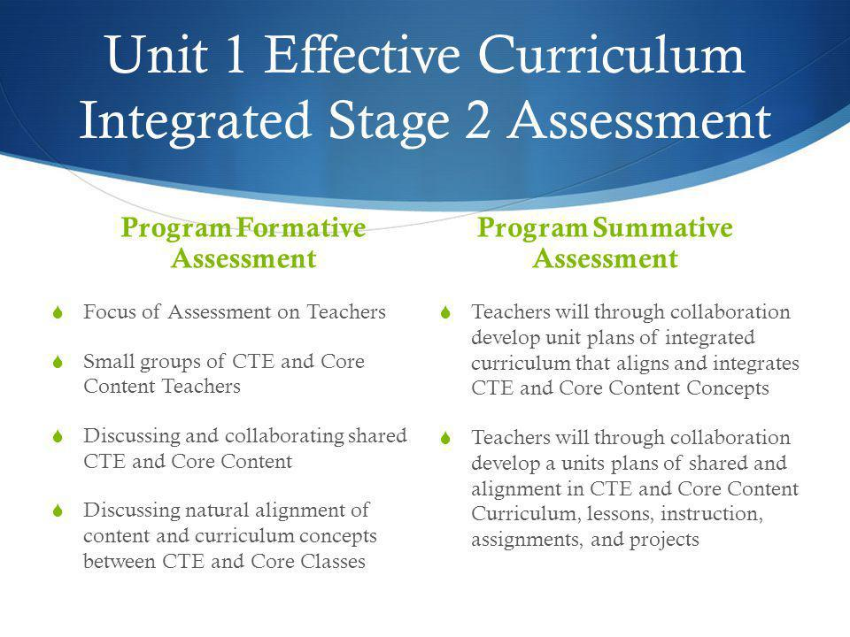 Unit 1 Effective Curriculum Integrated Stage 2 Assessment Program Formative Assessment  Focus of Assessment on Teachers  Small groups of CTE and Cor