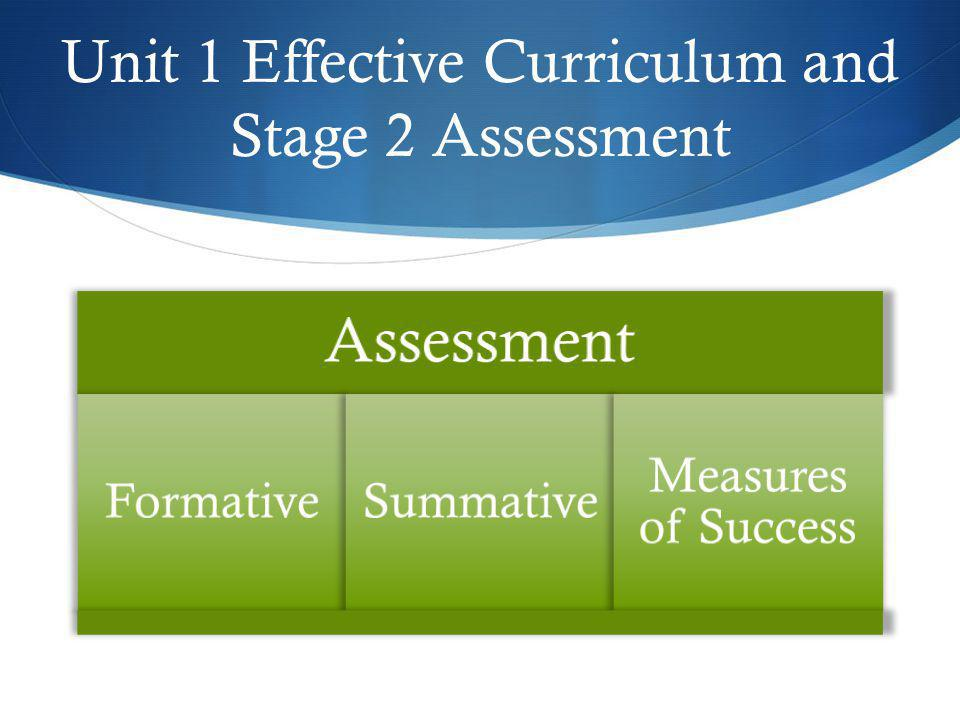 Unit 1 Effective Curriculum and Stage 2 Assessment Assessment FormativeSummative Measures of Success