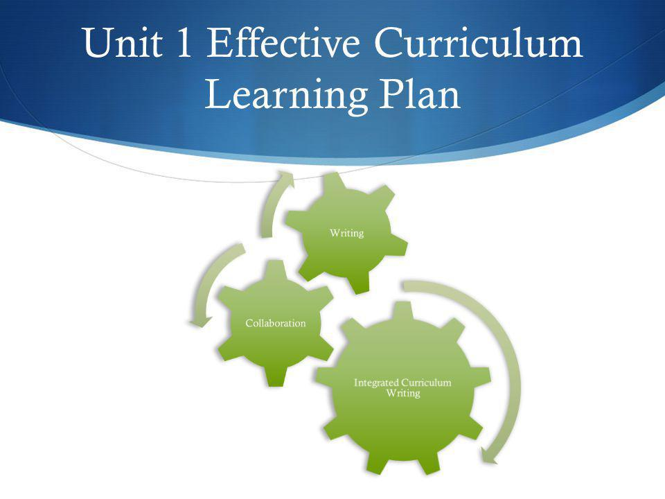 Unit 1 Effective Curriculum Learning Plan Integrated Curriculum Writing Collaboration Writing