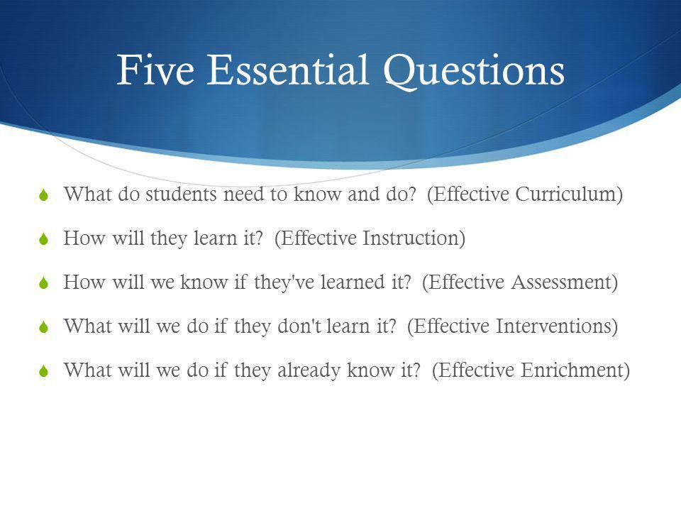 Five Essential Questions  What do students need to know and do? (Effective Curriculum)  How will they learn it? (Effective Instruction)  How will w