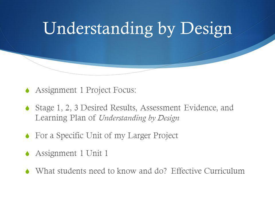 Understanding by Design  Assignment 1 Project Focus:  Stage 1, 2, 3 Desired Results, Assessment Evidence, and Learning Plan of Understanding by Desi