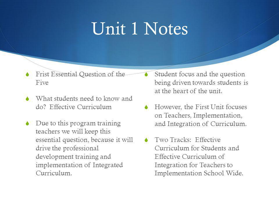 Unit 1 and Stage 2: Assessment Criteria Performance Tasks  Collaboration  Creating and Writing Integrated CTE and Core Content Curriculum Unit Plans  The evaluation and assessment of developed unit plans for students based on integrated curriculum and alignment Measures of Success  Opportunities for natural and organic curriculum  Shared content and curriculum that fits naturally  Greater amount of students time working with the concepts  Evaluating and assessing the unit plans through collaboration