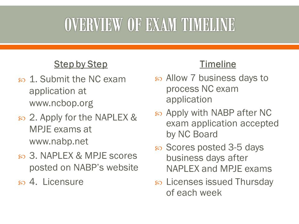 Step by Step  1. Submit the NC exam application at www.ncbop.org  2.