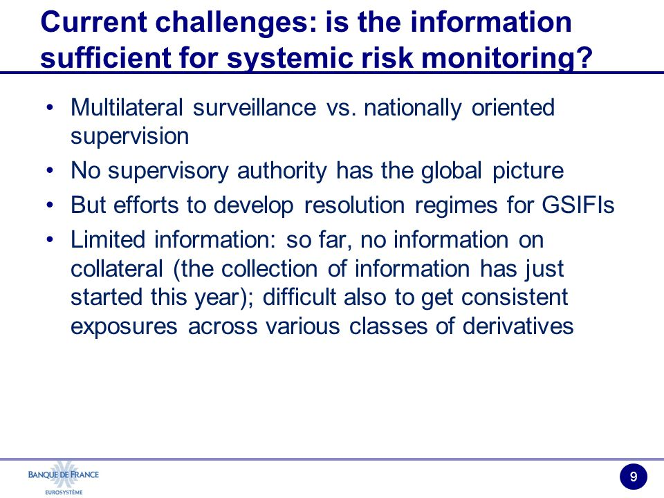 9 Multilateral surveillance vs. nationally oriented supervision No supervisory authority has the global picture But efforts to develop resolution regi