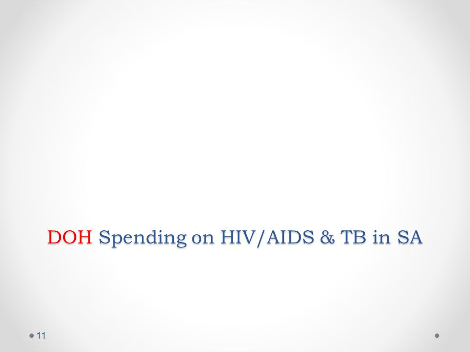 DOH Spending on HIV/AIDS & TB in SA 11