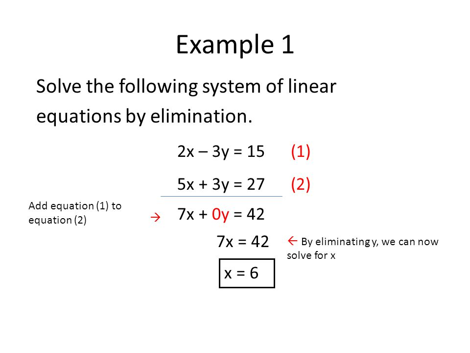 Example 1 Solve the following system of linear equations by elimination.