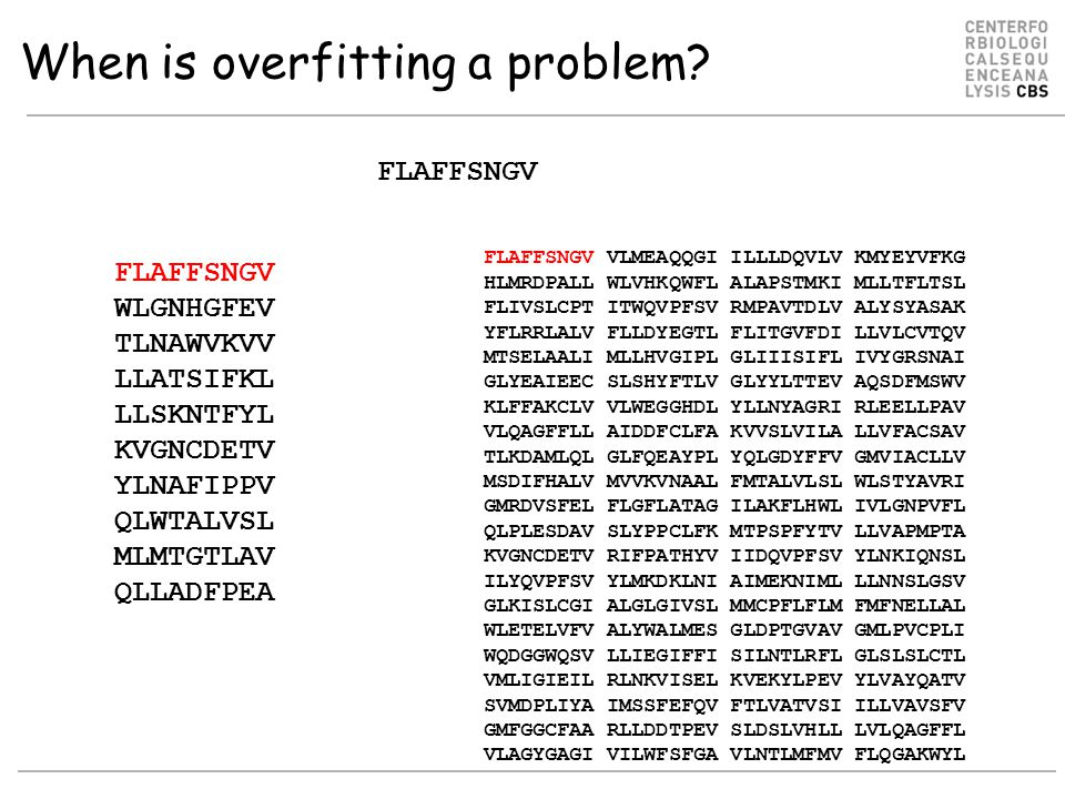 When is overfitting a problem.
