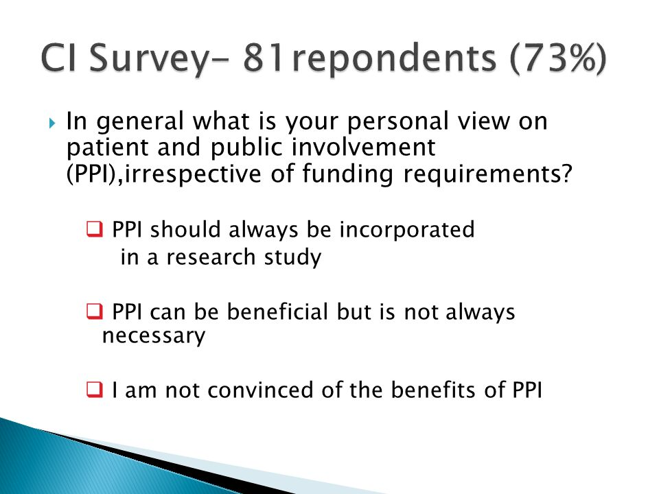  In general what is your personal view on patient and public involvement (PPI),irrespective of funding requirements.