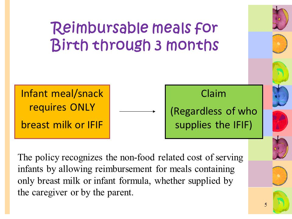 Reimbursable meals for Birth through 3 months Infant meal/snack requires ONLY breast milk or IFIF Claim (Regardless of who supplies the IFIF) 5 The policy recognizes the non-food related cost of serving infants by allowing reimbursement for meals containing only breast milk or infant formula, whether supplied by the caregiver or by the parent.