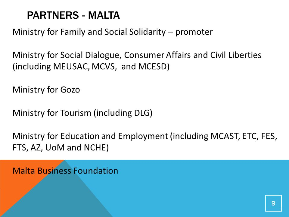 PARTNERS - MALTA 9 Ministry for Family and Social Solidarity – promoter Ministry for Social Dialogue, Consumer Affairs and Civil Liberties (including MEUSAC, MCVS, and MCESD) Ministry for Gozo Ministry for Tourism (including DLG) Ministry for Education and Employment (including MCAST, ETC, FES, FTS, AZ, UoM and NCHE) Malta Business Foundation