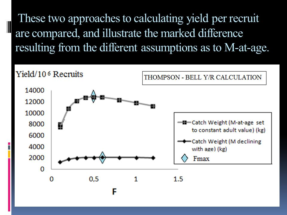 These two approaches to calculating yield per recruit are compared, and illustrate the marked difference resulting from the different assumptions as t