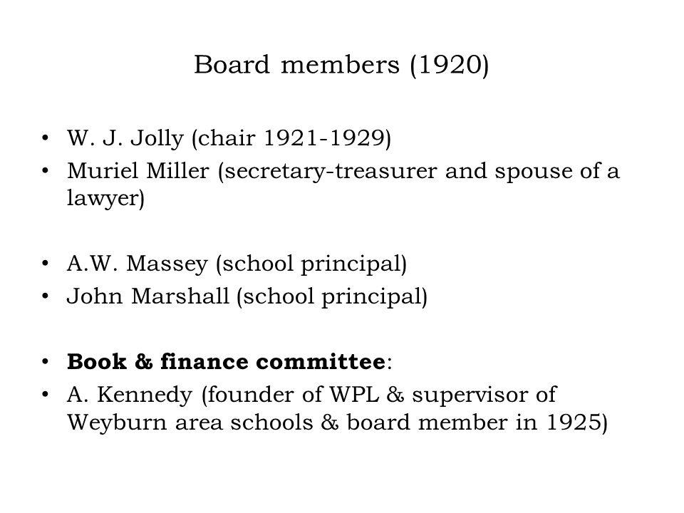 Board members (1920) W.J.