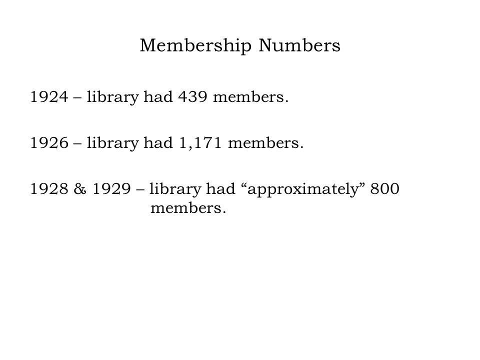 Membership Numbers 1924 – library had 439 members.