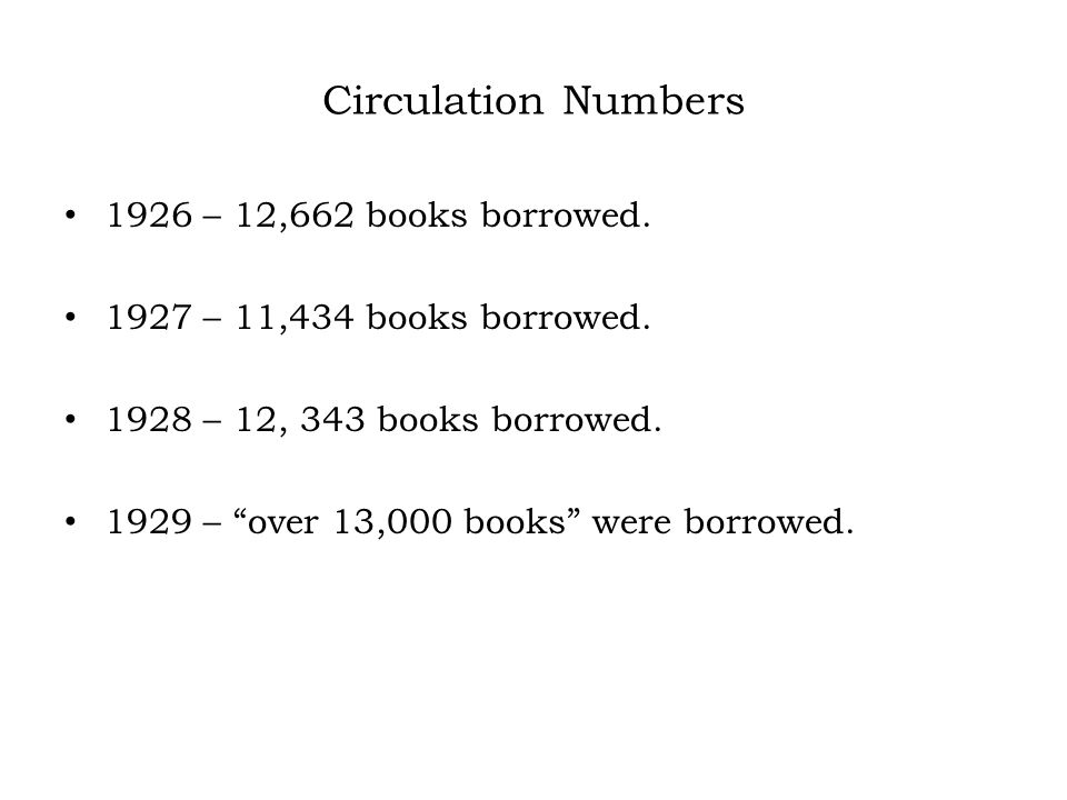 Circulation Numbers 1926 – 12,662 books borrowed.1927 – 11,434 books borrowed.