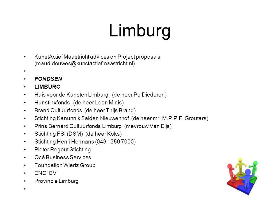 Limburg KunstActief Maastricht advices on Project proposals (maud.douwes@kunstactiefmaastricht.nl).