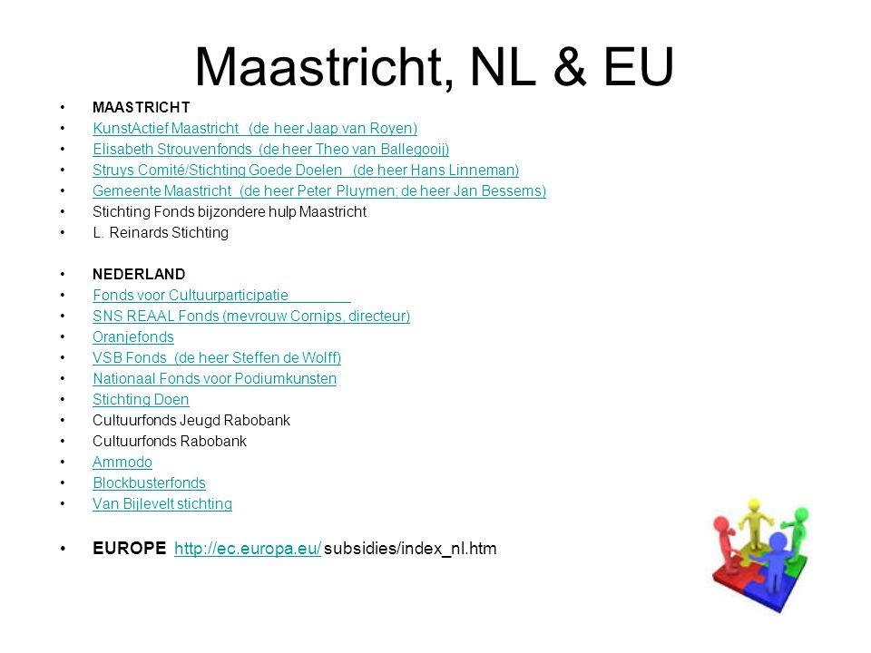 Maastricht, NL & EU MAASTRICHT KunstActief Maastricht (de heer Jaap van Royen) Elisabeth Strouvenfonds (de heer Theo van Ballegooij) Struys Comité/Stichting Goede Doelen (de heer Hans Linneman) Gemeente Maastricht (de heer Peter Pluymen; de heer Jan Bessems) Stichting Fonds bijzondere hulp Maastricht L.