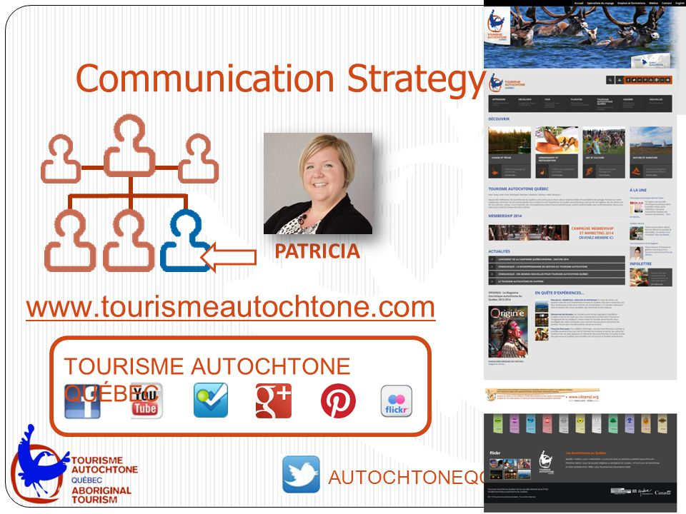 www.tourismeautochtone.com AUTOCHTONEQC PATRICIA TOURISME AUTOCHTONE QUÉBEC Communication Strategy