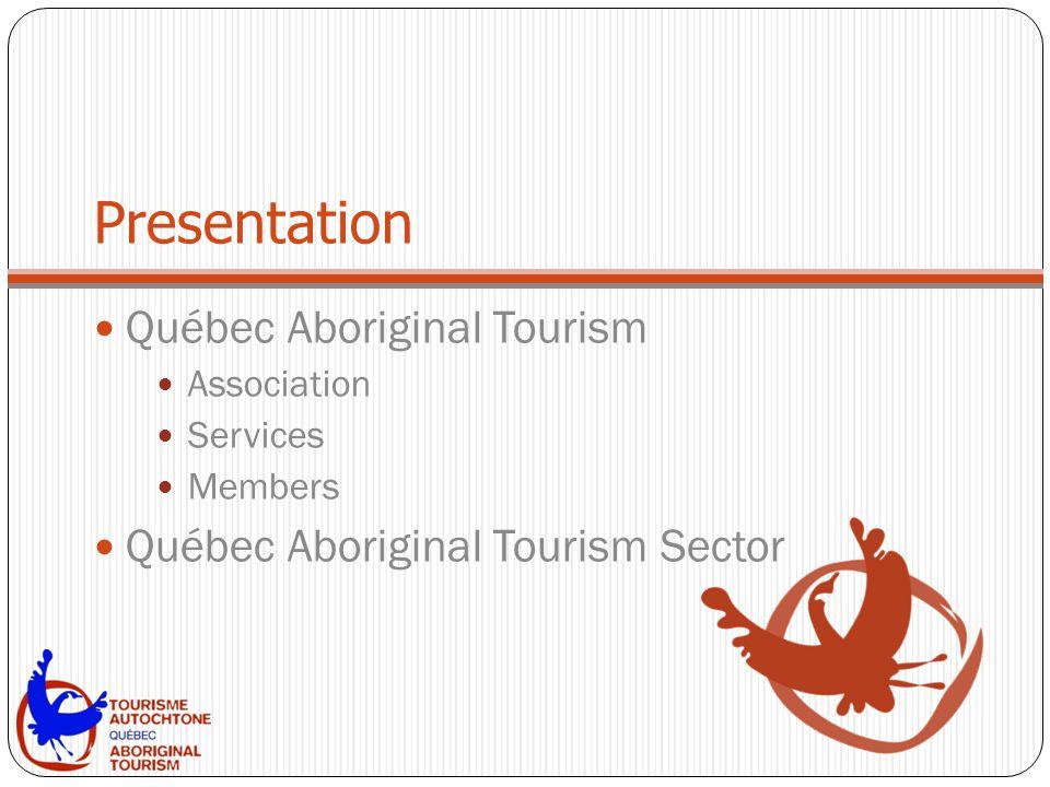 Presentation Québec Aboriginal Tourism Association Services Members Québec Aboriginal Tourism Sector