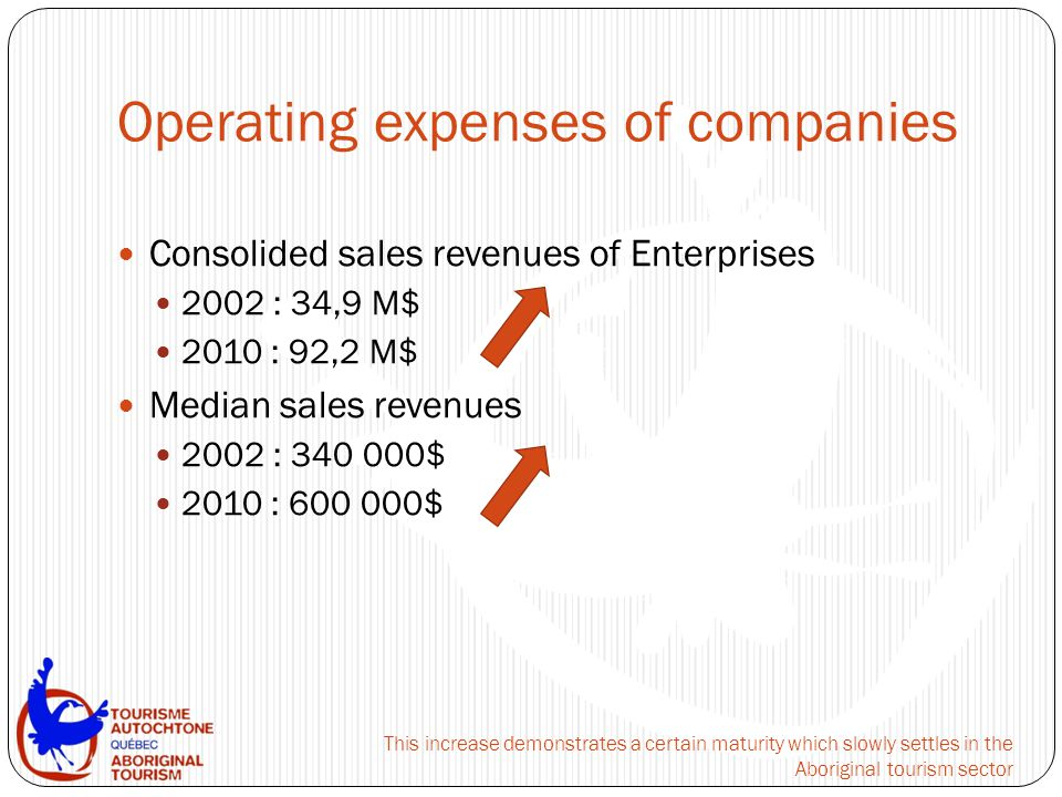 Operating expenses of companies Consolided sales revenues of Enterprises 2002 : 34,9 M$ 2010 : 92,2 M$ Median sales revenues 2002 : 340 000$ 2010 : 600 000$ This increase demonstrates a certain maturity which slowly settles in the Aboriginal tourism sector