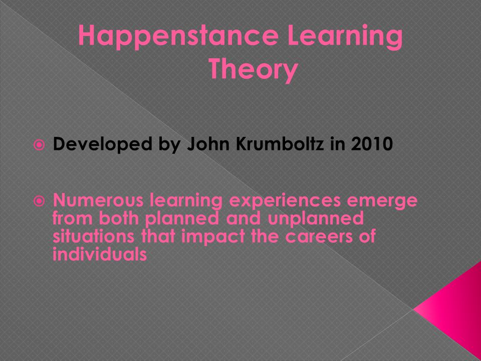  Developed by John Krumboltz in 2010  Numerous learning experiences emerge from both planned and unplanned situations that impact the careers of individuals