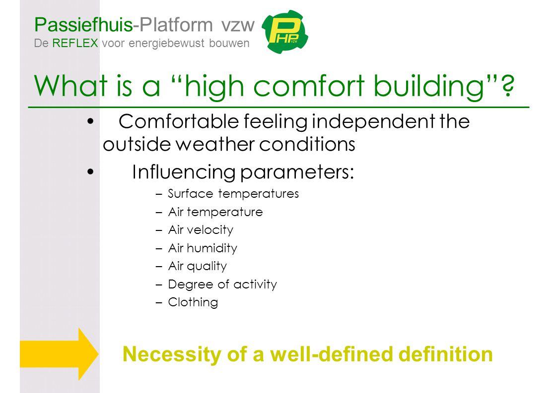 "Passiefhuis-Platform vzw De REFLEX voor energiebewust bouwen What is a ""high comfort building""? Comfortable feeling independent the outside weather co"