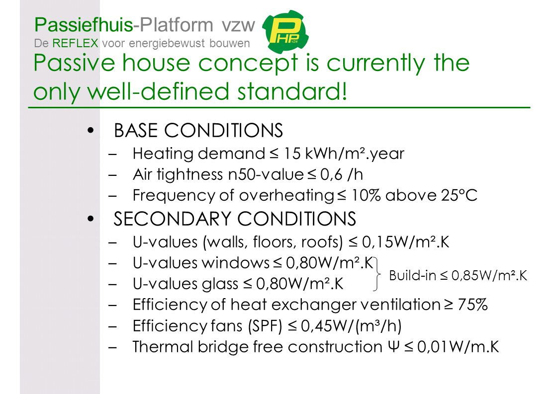 Passiefhuis-Platform vzw De REFLEX voor energiebewust bouwen BASE CONDITIONS –Heating demand ≤ 15 kWh/m².year –Air tightness n50-value ≤ 0,6 /h –Frequ