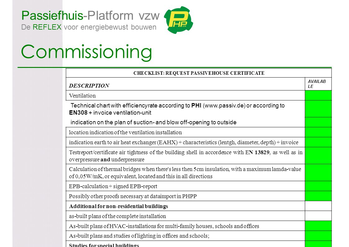 Passiefhuis-Platform vzw De REFLEX voor energiebewust bouwen Commissioning CHECKLIST: REQUEST PASSIVEHOUSE CERTIFICATE DESCRIPTION AVAILAB LE Ventilation Technical chart with efficiencyrate according to PHI (www.passiv.de) or according to EN308 + invoice ventilation-unit indication on the plan of suction- and blow off-opening to outside location indication of the ventilation installation indication earth to air heat exchanger (EAHX) + characteristics (lentgh, diameter, depth) + invoice Testreport/certificate air tightness of the building shell in accordence with EN 13829, as well as in overpressure and underpressure Calculation of thermal bridges when there s less then 5cm insulation, with a maximum lamda-value of 0,05W/mK, or equivalent, located and this in all directions EPB-calculation + signed EPB-report Possibly other proofs necessary at dataimport in PHPP Additional for non-residential buildings as-built plans of the complete installation As-built plans of HVAC-installations for multi-family houses, schools and offices As-built plans and studies of lighting in offices and schools; Studies for special buildings