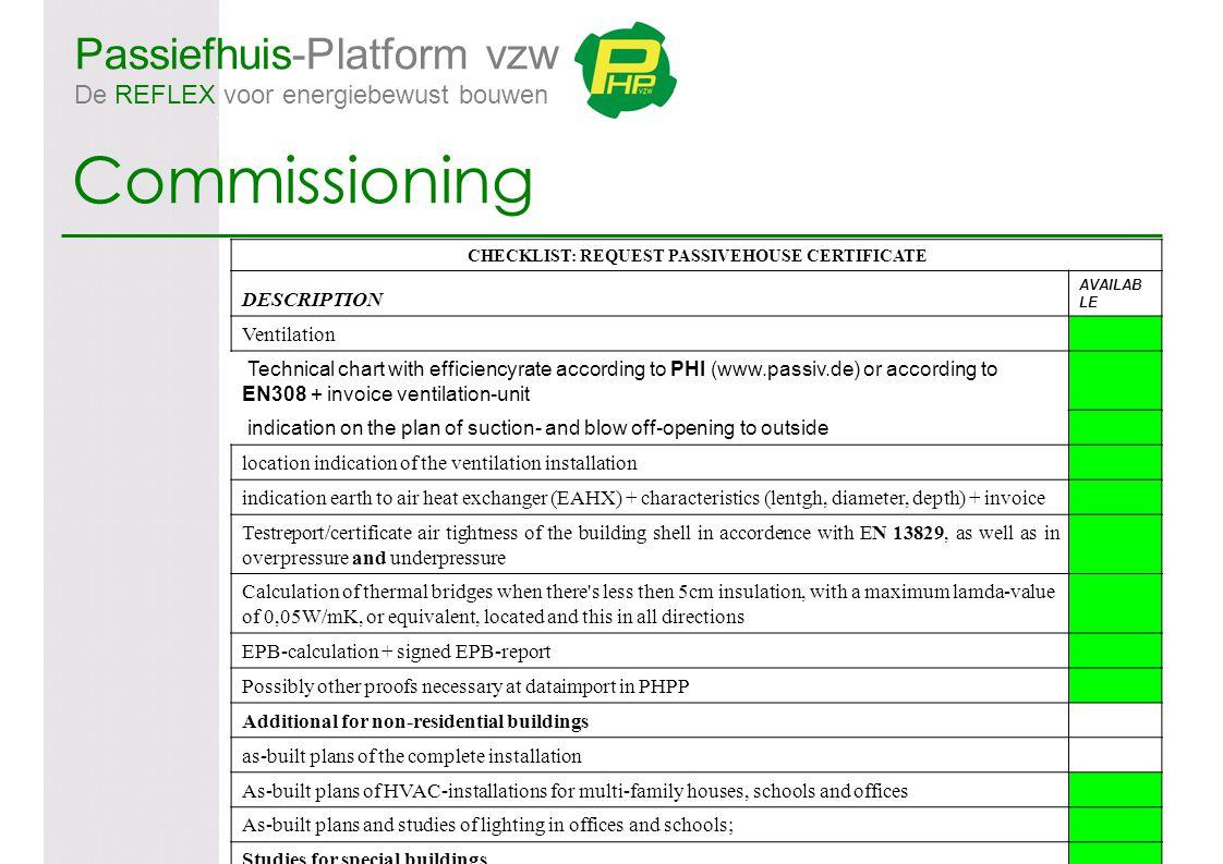 Passiefhuis-Platform vzw De REFLEX voor energiebewust bouwen Commissioning CHECKLIST: REQUEST PASSIVEHOUSE CERTIFICATE DESCRIPTION AVAILAB LE Ventilat