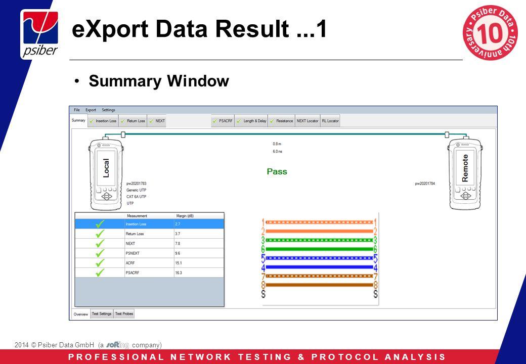 P R O F E S S I O N A L N E T W O R K T E S T I N G & P R O T O C O L A N A L Y S I S 2014 © Psiber Data GmbH (a company) eXport Data Result...1 Summary Window